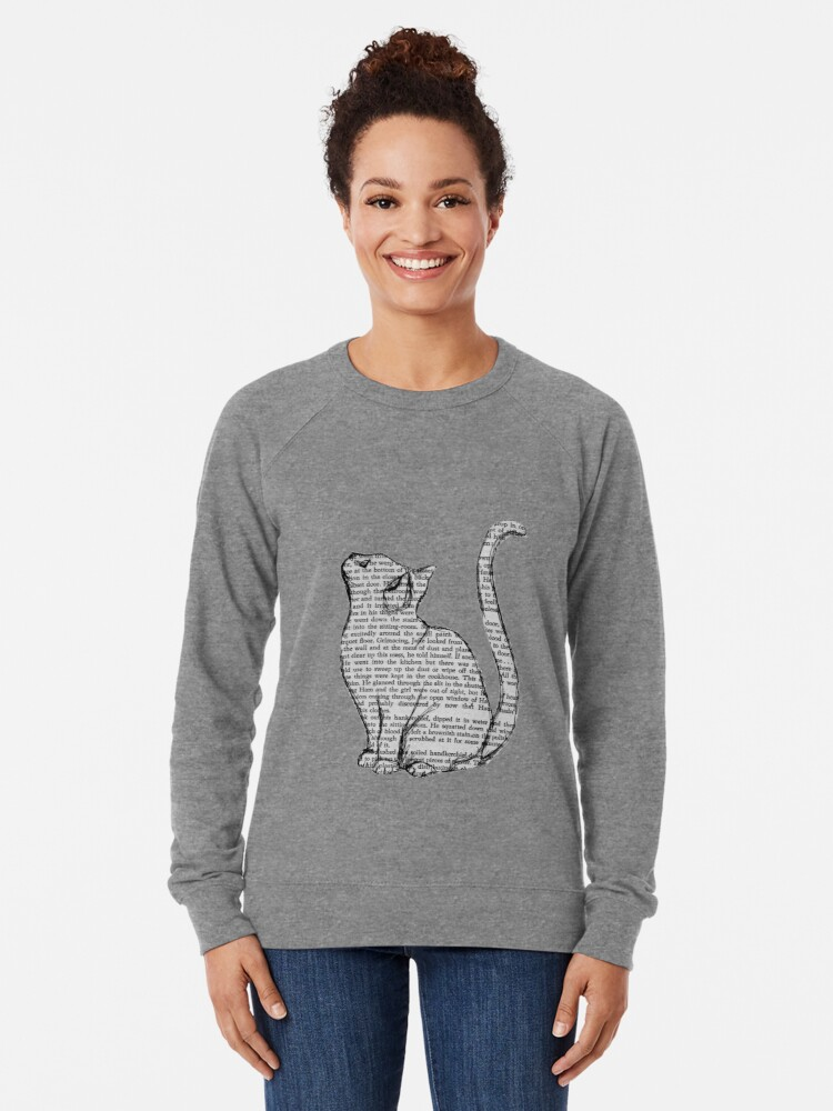 Alternate view of books and cats and books and cats Lightweight Sweatshirt
