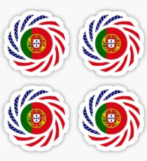 Portuguese American Multinational Patriot Flag Series Sticker