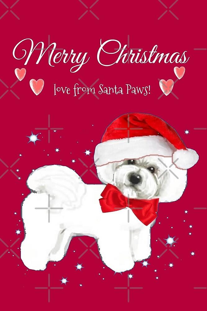 Bichon frise santa dog, Christmas pink by MagentaRose