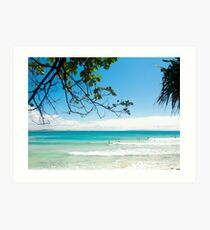 Longboard waves at First Point, Noosa : Light blue & green Art Print