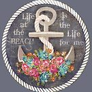 Nautical Anchor & Roses Beach Life   by Jamie Wogan Edwards