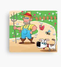 farmer and dog, animal farm Canvas Print