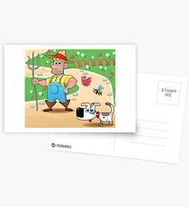 farmer and dog, animal farm Postcards
