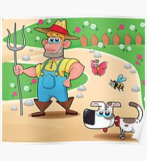 farmer and dog, animal farm Poster