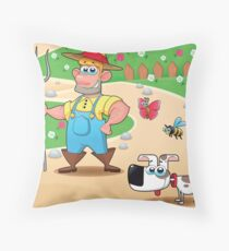 farmer and dog, animal farm Throw Pillow
