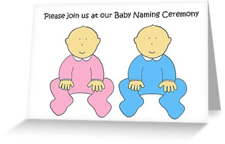 Baby Naming Ceremony Invitation For Twins Greeting Cards By