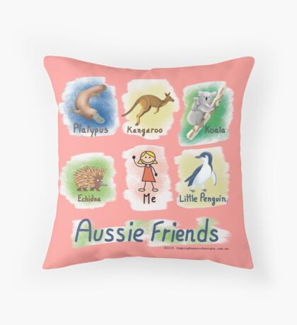 Me and My Aussie Friends - Girl Throw Pillow