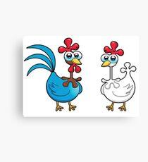 chicken animal farm and kid Canvas Print
