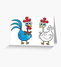 chicken animal farm and kid Greeting Card