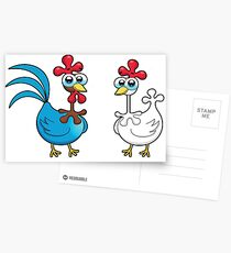 chicken animal farm and kid Postcards