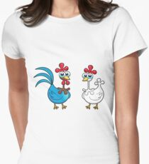 chicken animal farm and kid Women's Fitted T-Shirt