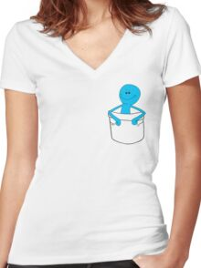 Mr Meeseeks Pocket Tee - Rick and Morty Women's Fitted V-Neck T-Shirt