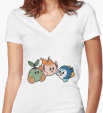 Kirby Pokémon Starters Women's Fitted V-Neck T-Shirt