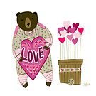 Bear with loveheart by Yuliya Art