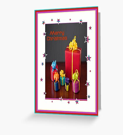 Merry Christmas Gift Boxes Holiday Greeting Greeting Card