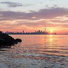 Toronto Skyline - Clearing Clouds at Sunrise by Georgia Mizuleva