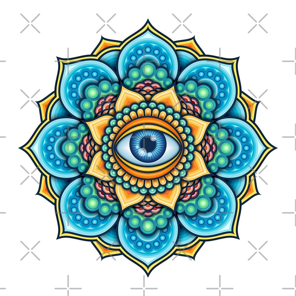 Colored Mandala With An Eye Symbol by Bruvi