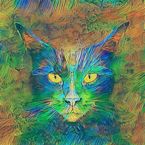 Digital painting of cat by Artificial neural networks