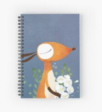 Fox and White Rose Spiral Notebook