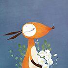 Fox and White Rose by jjsgarden