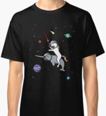 Unicorn Riding Narwhal In Space Classic T-Shirt