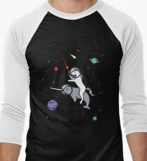 Unicorn Riding Narwhal In Space Men's Baseball ¾ T-Shirt