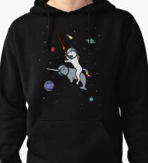 Unicorn Riding Narwhal In Space Pullover Hoodie