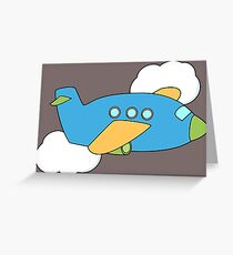 Airplane flying through Clouds Greeting Card