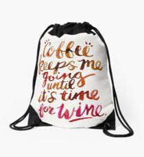 Coffee & Wine – Brown & Magenta Ombré Drawstring Bag