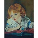 Girl with an Apple after Greuze - throw pillow by Gilberte