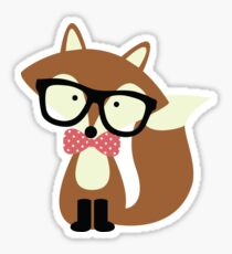 Red Bow Tie Hipster Fox Sticker