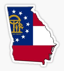 Georgia State Flag & Outline Sticker