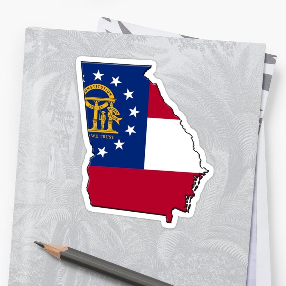 Georgia State Flag & Outline by Davedinho