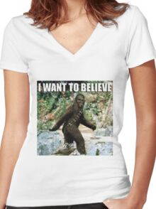 Chewy in the woods Women's Fitted V-Neck T-Shirt