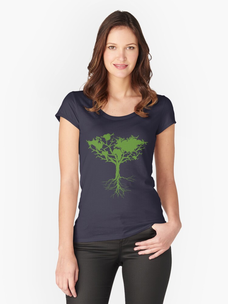 Earth Tree Classic Women's Fitted Scoop T-Shirt Front