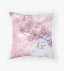 Lovely Light Pink Ethereal Glowing Cherry Blossoms Throw Pillow