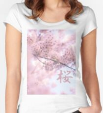 Lovely Light Pink Ethereal Glowing Cherry Blossoms Women's Fitted Scoop T-Shirt