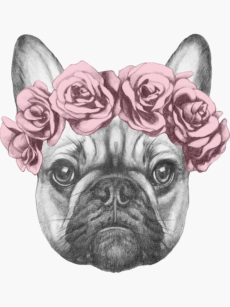 Bulldog francés con corona de rosa de joellis