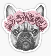 French bulldog with rose crown Sticker