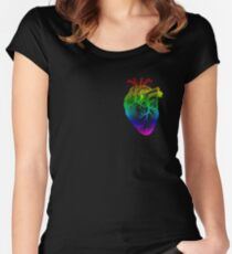 Rainbow Heart Women's Fitted Scoop T-Shirt