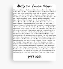 Buffy the Vampire Slayer: Episodes Canvas Print