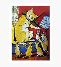 Cat Plays Violin for Dancing Rats - Victorian-era Anthropomorphic Art Photographic Print