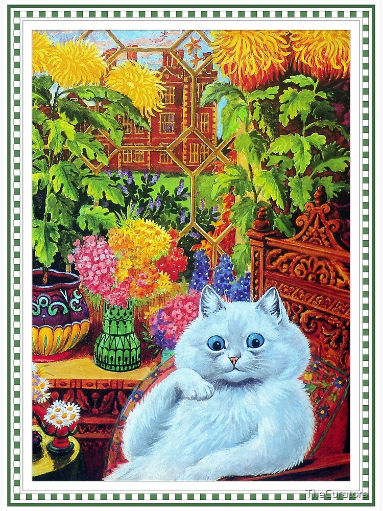 b134b702f46 White Cat Lounging in Study by Louis Wain