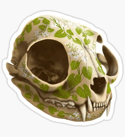 cat skull decorated with wasabi flowers Sticker