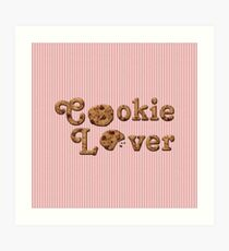 Cookie Lover Delicious Chocolate Chip Pink Stripes Art Print