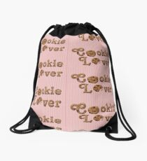 Cookie Lover Delicious Chocolate Chip Pink Stripes Drawstring Bag