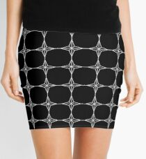 Four Point Stars - Black and White w/ Lines ~ Black Background Mini Skirt