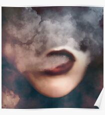 Woman Red Lips Vape Clouds  Poster