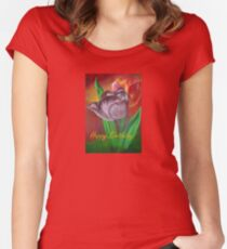 Two Tulips Happy Birthday Greeting Women's Fitted Scoop T-Shirt