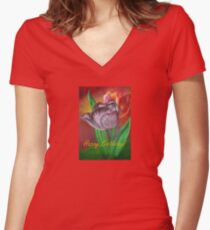 Two Tulips Happy Birthday Greeting Women's Fitted V-Neck T-Shirt